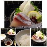 37988697 - 私は「松花堂(月)1500円」を頂きました。                       ◆最初に「お刺身」が出されます。間八と鯛、、盛り付けが美しいですよ。