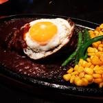 ステーキ キッチンファクトリー - ハンバーグ360g 目玉焼き