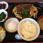 松本ゴールデンバーグ - デミ玉ハンバーグセット 980円(ランチメニュー)