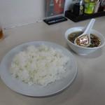 邑楽亭 - ライス、スープ