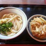38008093 - 釜あげしょうゆうどん、野菜のかき揚げ(・∀・)イイネ!!