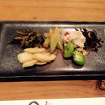 分田上 - わさびの花、淡竹、セロリ味噌和え、えんどう豆、おから、たつくり
