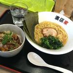 濱辰家 - グルーポンでとんこつ醤油ラーメンとチャーシュー丼のセット通常880円のセットが500円
