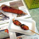 38048234 - つくね串揚げ100円と牡蠣の串焼き250円を買いました