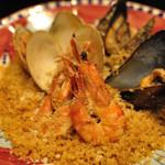 Pescheria Cara mishuku - クスクスのトラパネーゼ       ブイヤベースのスープと①