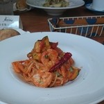 38055686 - 海老とレンコン、ズッキーニのトマトソーススパゲティ