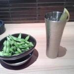 和民 - 枝豆と山崎Y12ハイボール(レモン不要)