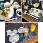 スワンタイル カフェ - スワンタイルカフェのランチ:月替わりのプレートごはん(左上写真)1380円、炊き込みご飯(右上写真)1180円 ランチはドリンク1杯付 2015年5月17日撮影