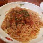 381358 - 豚のモツとトマトのスパゲッティ