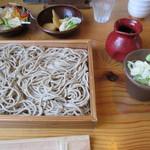愛庵 - 配膳時。サラダ・漬物無料!