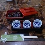38173342 - 肝焼と日本酒飲み比べ三種