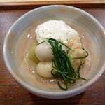 38188080 - 小芋とがんもどき 蕗とおかひじきを 胡麻風味の白和えで頂きます