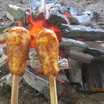たつこ茶屋 - 囲炉裏で焼かれる味噌たんぽ