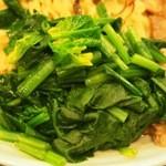 まんねんカレー - 全部のせカレーつけ麺(ほうれん草)