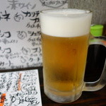 裏剣 - 2015.05 チョイ飲みセット、右の惣菜盛り合わせが付いて500円、生単品は380円