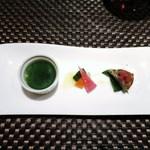 アルモニコ - しらすのフリッタータ  野菜のマリネ  カツオのムース、イタリアンパセリのジュレ