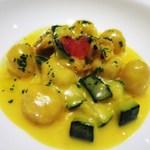 アルモニコ - バッカラとジャガイモのニョッキ   サフラン馨るあさりのクリームソース