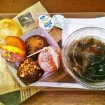 カンテボーレ  新百合ヶ丘店 - プチドーナツ&紅茶パン+アイスコーヒー