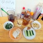 セレクトショップ タクマ - 晩酌Cセット500円+税とおまけの惣菜2つ