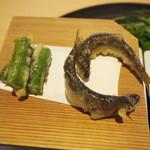 茶洒 金田中 - 稚鮎天ぷら 青アスパラ
