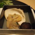 茶洒 金田中 - はまぐり酒蒸し 椎茸