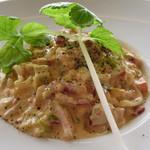 38255378 - イベリコ豚のパンツェッタ リングイーネのトマト風味カルボナーラ