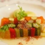 アンジュ・ダズール - 前菜の彩り野菜のテリーヌとヴィネグレットソース