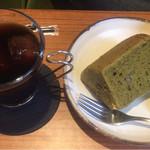 カフェ モグ・カミーノ - 料理写真:本日のケーキセット(抹茶小豆シフォン)