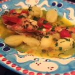 Pescheria Cara mishuku - キンキの地中海煮込み。お皿がタコなの。カワイイ。