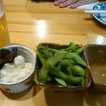 なにわや - 【料理】枝豆、ポテトサラダ、ビール!