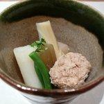 3830814 - 長いも、いんげん、ふき、新竹の子、鶏団子の煮物