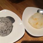 とんつう - 黒胡麻アイスと柚子シャーベット