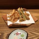 まちかどマルシェ Norakuro - 海老と旬野菜の天ぷら(海老とタケノコとアスパラ)