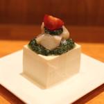 38312584 - 帆立貝と豆腐 わけぎソースで (2015/04)