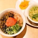 麺家 えびす - 明太高菜どんぶり/スープ、漬物付