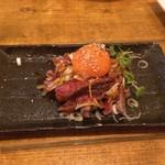 natsutoumitotaiyoutonamioto - おきなわ和牛のレアステーキ  ユッケ風
