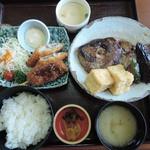 山賊鍋 - 天ざる茶そば定食+白身魚フライと串カツ