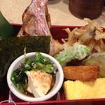 38352368 - ねぎの肉巻きフライ,出汁巻き玉子,いか棒天,野菜天ぷら,鮮魚幽庵焼き,ほうれん草豆腐