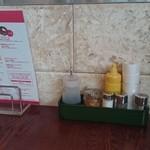 38357663 - テーブルの上。(醤油、塩、コショウ、マスタード、唐辛子)
