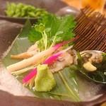 日比野市場鮮魚浜焼きセンター - アワビの刺身!めっちゃ美味しかった