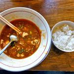 俺のラーメンジョー - 「マーボーめん(☆3)」食べかけで失礼します & 半ライス(2015年5月)