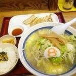 38370780 - Aセット939円 バター風味野菜らーめん 8番餃子 ライス小 漬物