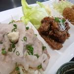 38371133 - ランチプレート/静内産ホエー蓋の塩豚・タレザンギ・バラ味噌ロールカツ