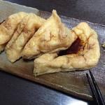 丸登豆腐店 - 焼いて生姜醤油で食べた
