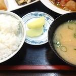 源宗 - ご飯、香の物、お味噌汁
