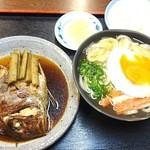 源宗 - 鯛のアラ煮&煮ごぼう¥500&月見うどん?