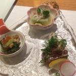 天ぷら&ワイン 芦屋 いわい - 先付け、アップ