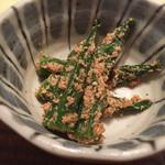 38429786 - 昼御膳の野菜小鉢はおくらの胡麻和え