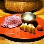 ファンボギ - 2015.5 鮎の熟れ鮓クリームと本日の熟成赤身と焼やさい(2,300円)