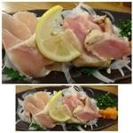漁師居酒屋つねちゃん - ◆宮崎産 赤鶏のたたき(880円)・・クセもなく美味しい鶏です。 これもボリュームがありました。